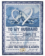 Blue Whale Couple You Make Me Complete Gift For Husband Fleece Blanket