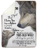 Wolf Grandpa Gift For Grandson Believe In Yourself Sherpa Fleece Blanket