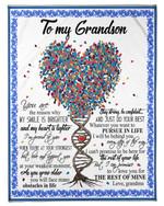 Grandma Gift For Grandson Tree Dna The Rest Of Mine Fleece Blanket