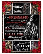 Skeleton And Red Rose The Love For You Gift For Husband Fleece Blanket