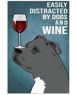 Staff Bull Terrier Dog And Red Wine Blue Background Gift For Dog Lovers Vertical Poster