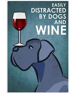 Cartoon Art Great Dane Dog And Red Wine Gift For Dog Lovers Vertical Poster