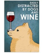 Cute Pomeranian Dog And Red Wine Gift For Dog Lovers Vertical Poster
