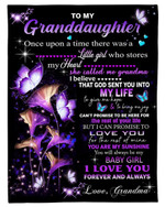 God Sent You Into My Life Butterflies Grandma Gift For Granddaughter Fleece Blanket