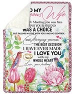 Meeting You Was Fate Protea Gift For Wife Sherpa Fleece Blanket
