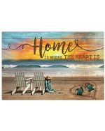 Home Is Where The Heart Is Sea Turtle Sunrise Horizontal Poster
