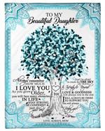 How Much I Love You Blue Mandala Design Mom Gift For Daughter Fleece Blanket