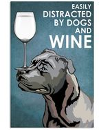 Blue Staffie Dog And White Wine Blue Background Gift For Dog Lovers Vertical Poster