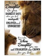 On Your Darkest Days Lion Dad Gift For Daughter Vertical Poster