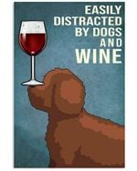 Cute Lagotto Romagna Dog And Red Wine Gift For Dog Lovers Vertical Poster