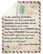 Whenever You Feel Overwhelmed Letter Grandma Gift For Grandson Sherpa Fleece Blanket