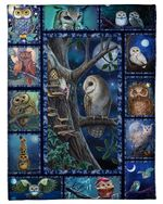 Owl Perched On Tree Dark Night Meaningful Gift Fleece Blanket