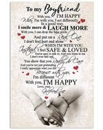 With You I'm Happy Gift For Boyfriend Vertical Poster