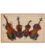Contrabass Colorful With Music Sheet Watercolor Vitage Design Horizontal Poster