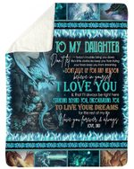 Dad Gift For Daughter Fire-breathing Dragon I Love You Sherpa Fleece Blanket