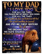 Daughter Gift For Dad Galaxy Lion To Me You Are The World Fleece Blanket