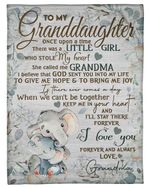 Elephant Keep Me In Your Heart Grandma Gift For Granddaughter Fleece Blanket