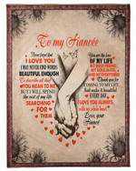 Gift For Fiancee Hand In Hand Love You Always With My Whole Heart Fleece Blanket