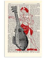 Ukulele Upcycled Dictionary Page Gift For Ukulele Player Vertical Poster