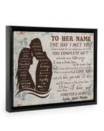 Custom Name Gift For Wife The Day I Met You Floral Background Framed Matte Canvas