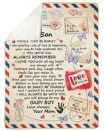 Mail Letter Love You With All My Heart Mom Gift For Son Sherpa Fleece Blanket