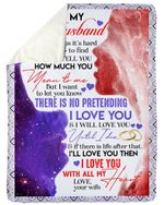 Love You With All My Heart Galaxy Gift For Husband Sherpa Fleece Blanket