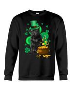 Black Pug And Pot Of Gold Shamrock Dog Lovers St. Patrick's Day Printed Sweatshirt