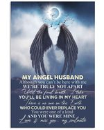 Angel Wings Full Moon Living In My Heart Gift For Angel Husband Vertical Poster