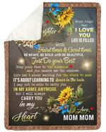 Mom Mom Gift For Granddaughter Carry You In My Heart Sunflower Sherpa Fleece Blanket