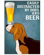 Cartoon Beagle Dogs And Beer Gift For Dog Lovers Vertical Poster