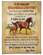 Horse Nana Gift For Granddaughter You'll Always Be My Baby Girl Fleece Blanket