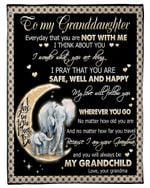 Grandma Gift For Granddaughter Elephant Waning Moon I Think About You Fleece Blanket