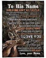 My King Forever Wild Deer Custom Name Gift For Husband Fleece Blanket