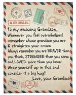 Whenever You Feel Overwhelmed Letter Grandma Gift For Grandson Fleece Blanket