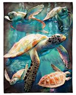 I Love Sea Turtle Queen Of Ocean Fleece Blanket