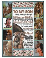 Horses Mom Gift For Son You Make Me Smile Happy And Proud Fleece Blanket