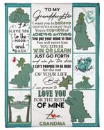 Chubby Dinosaur Grandma Gift For Granddaughter Win Or Learn Fleece Blanket