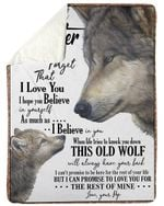 Wolf Pop Gift For Daughter Never Forget That I Love You Sherpa Fleece Blanket
