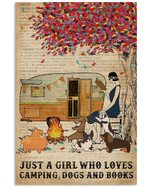 Camping Girl Who Loves Book Dog Vertical Poster