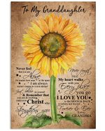 Grandma Gift For Granddaughter Sunflower Love You To The Moon Vertical Poster
