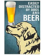 Cartoon Art Golden Dogs And Beer Gift For Dog Lovers Vertical Poster