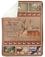 Deer Dad Gift For Daughter You'll Always Be My Baby Girl Sherpa Fleece Blanket