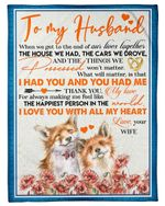 Fox Couple The Happiest Person In The World Gift For Husband Fleece Blanket