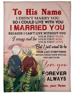 Custom Name Gift For Husband I Can't Live Without You Fleece Blanket