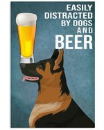 Funny German Shepherd Dogs And Beer Gift For Dog Lovers Vertical Poster