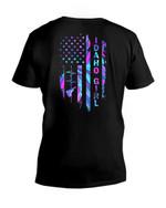 Birthday Gift For Idaho Girl American Flag Heartbeat Guys V-neck