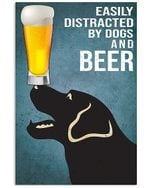 Cartoon Art Labrador Dogs And Beer Gift For Dog Lovers Vertical Poster
