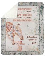 Custom Name Gift For Children Giraffe We Have Everything Sherpa Blanket