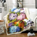Colorful Hydrangea Flower Patterns Printed Sherpa Fleece Blanket