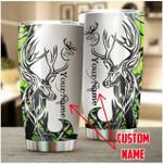 Custom Name Hunting Deer Green Stainless Steel Tumbler